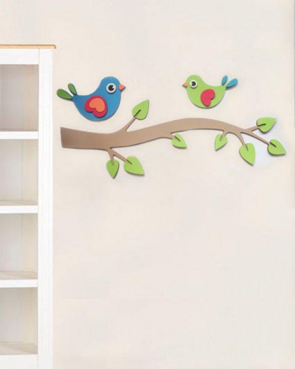Pianka Ptaszki na gałęzi - dekoracja do pokoiku dziecięcego