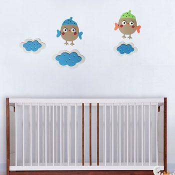 Pianka Ptaszki w chmurach - dekoracja do pokoiku dziecięcego