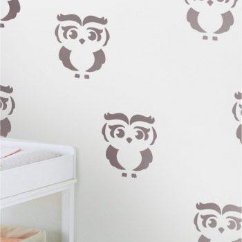 Szablon do malowania w pokoju dziecka Sowa