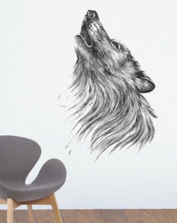 Naklejka malowana ręcznie drukowana WILK 2
